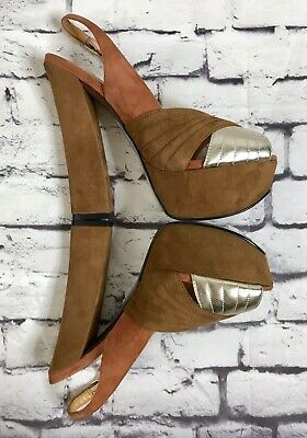 H By Halston Slingback Iconic Platform High Heels Suede Leather Size 6 B • 40.44£