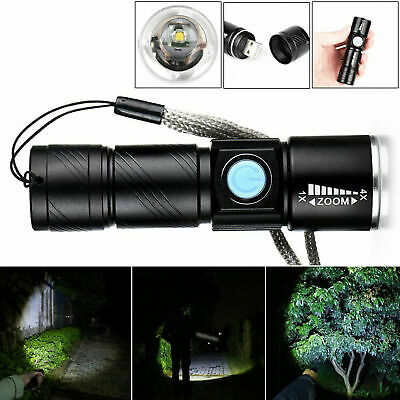 NEW USB Rechargeable Bright LED Flashlight With Beam Focusing Zoom Torch R8W2T • 5.68£
