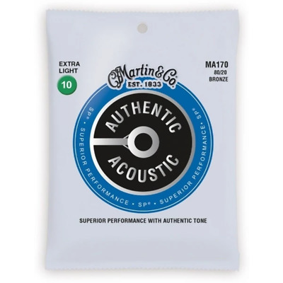 Martin Strings MA170 80/20 Bronze Authentic Acoustic Guitar Strings Extra Light