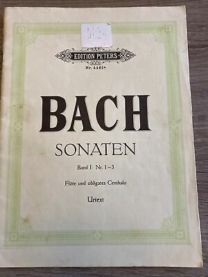 Bach Sonaten Nr 1-3 Flute And Piano Edition Peters Nr. 4461a Piano Only