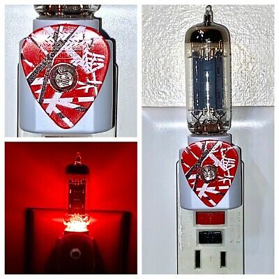 Eddie Van Halen EVH Striped Guitar Pick + 12AX7 Vacuum Tube Red LED Night Light • 20£