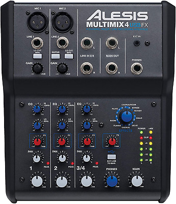 Alesis MultiMix 4 USB FX | 4 Channel Compact Studio Mixer With Built In Effects  • 125.72£