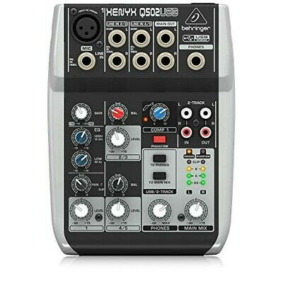 Behringer Premium 5 Input 2 Bass Mixer Q502USB With USB Audio Interface Xenyx • 79.86£