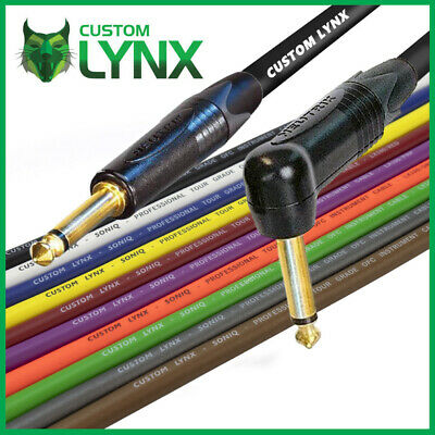 Custom Lynx Rean Neutrik 6.35mm 0.25m, Black Straight To 6.35mm 1//4 Mono 1//4 Angle Jack Guitar Effects Pedal Patch Cable