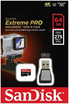 SanDisk Extreme Pro Micro SD XC 64GB Class 10 275MB/s 1833X With Card Reader • 59.19£