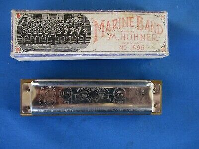 Vintage M. Hohner Marine Band Harmonica Key of D Made in Germany 1896 Model A440