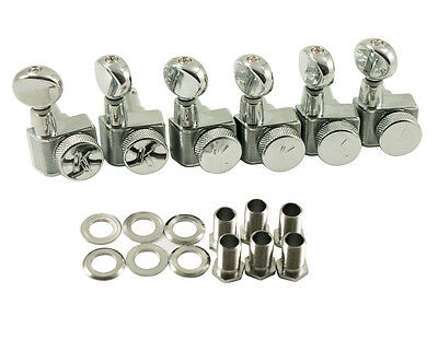Kluson Locking Tuners for Fender 6 in line, Oval metal btn, chrome KLF-3805CL