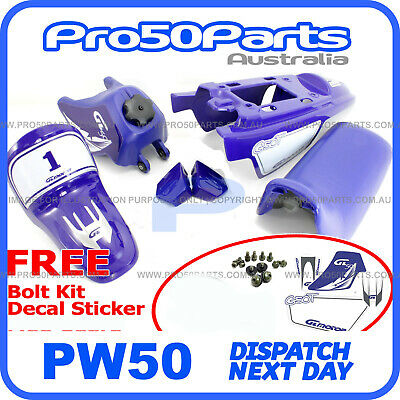 Yamaha PW50 Loncin PY50 Blue Fender Cover, Fuel Tank, Seat + FREE Decal Bolt • 80.54£