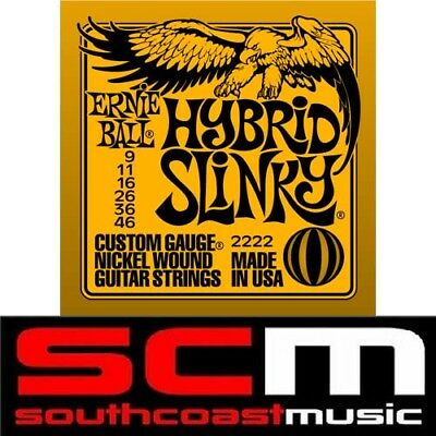 Hybrid Slinky 2222 Ernie Ball Electric Guitar Strings Set 9-46 Strings • 11.60£