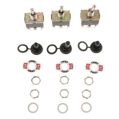 15A 250V AC DPDT Metal Momentary Rocker Toggle Switch Toggle Flick Switches X3 • 4.56£