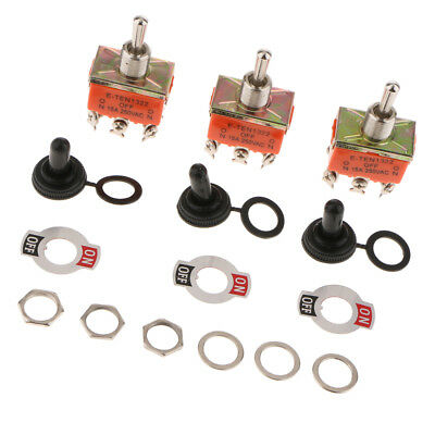 3PCS 15A 250V DPDT Momentary Rocker Toggle Switch Toggle Flick Switch Orange • 4.16£