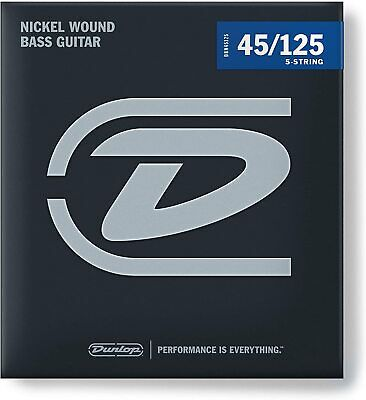 2 SETS Jim Dunlop DBN45125 Bass Guitar Strings Set 5 String Nickle Plated 45-125 • 49.44£