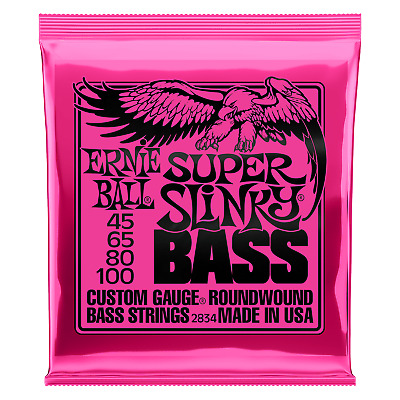 Ernie Ball Super Slinky 2834 Nickel Bass Guitar Strings 45-100 • 19.99£