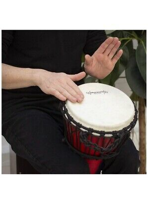 World Rhythm 8 Inch Rope Tuned Djembe Drum - Red African Synthetic Hand Drum • 99.95£