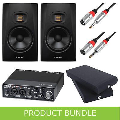 Adam Audio T5V (PAIR) With Steinberg UR22c Interface, Iso Pads & Leads • 479£