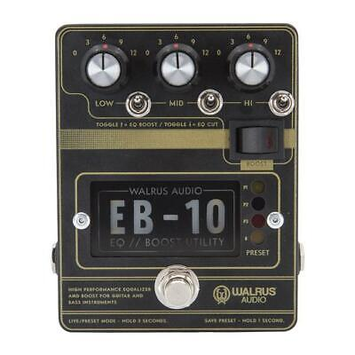 Walrus Audio EB-10 Preamp / EQ / Boost Guitar Effect Pedal - Black - New • 172.25£