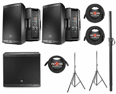 2x JBL EON612 1000 Watt Powered Active Speaker+JBL EON618S+Pole+Stands+Cables • 1,497.25£