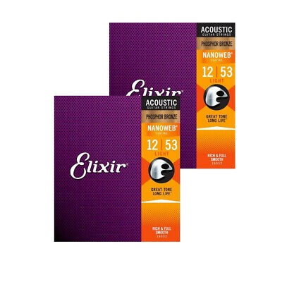 2x Elixir Phosphor Bronze NANOWEB Light [E16052_2] Acoustic Guitar Strings # 1   • 28.50£