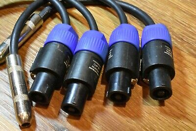 4-Pack Hosa 1/4  Female TS To Neutrik SPEAKON NL2FX Pro Speaker Cable Adapter • 36.86£