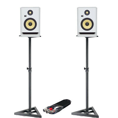 KRK Rokit RP7 G4 White Noise Speakers (Pair) + Monitor Stands + RCA - XLRm Cable