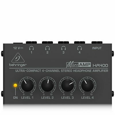 Behringer HA400 Microamp 4 Channel Stereo Headphone Amplifier BRAND NEW FREE P&P • 24.70£