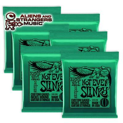 6 Sets! Ernie Ball Not Even Slinky Electric Guitar Strings 2626 .012-.056 • 23.76£