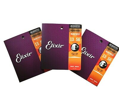 Elixir Guitar Strings Phosphor Bronze Nanoweb Medium  13-56 3 Pack • 45.07£