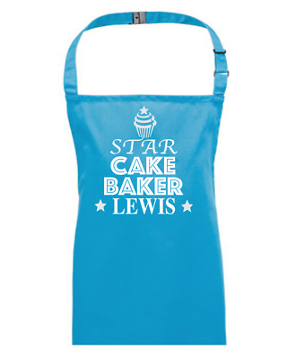 Star Cake Baker- Personalised Children's / Kids Apron EMAIL THE NAME YOU WANT • 13.95£