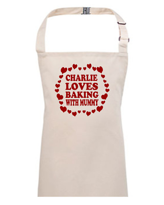LOVE BAKING WITH MUMMY-  Children's / Kids Apron - EMAIL THE NAME YOU WANT • 13.95£