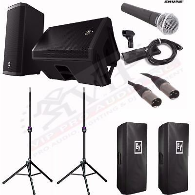"""EV ZLX15P 15"""" Powered Speakers + Ultimate Stands TS110B + Shure SM58 Mic, BUNDLE • 919.82£"""