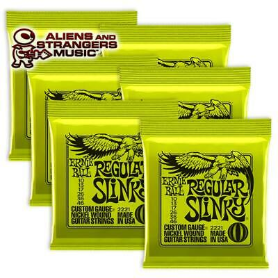 6 Sets! Ernie Ball Regular Slinky Electric Strings 2221 .010-.046 • 22.42£