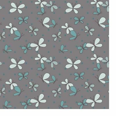 100% Cotton Fabric Ella Blue Spring Mischief - Butterflies Charcoal Grey • 3.30£