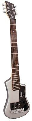 Hofner HCT Shorty Electric Travel Guitar - Silver