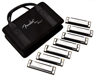 Fender® Blues Deluxe Harmonicas 7-Pack With Case Sampler Set: C G A D F E Bb • 69£