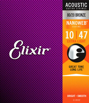 Elixir 80/20 Bronze Nanoweb Acoustic Guitar Strings Extra Light 10-47 • 15.95£