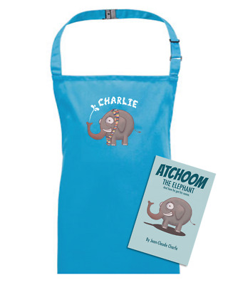 Atchoom The Elephant Personalised Children's Kids Apron + Atchoom Book • 18.95£