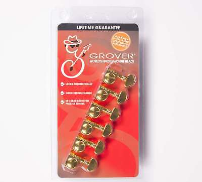 Grover 406G6 Mini Locking Rotomatic Guitar Tuners 6 In line Gold