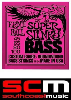 Bass Guitar Strings 2834 Ernie Ball Super Slinky Roundwound 45-100 String Set • 27.70£