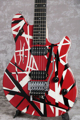 EVH Wolfgang Special Ebony Fingerboard Red Black And White Stripes Rare EMS F/S • 2,411.29£