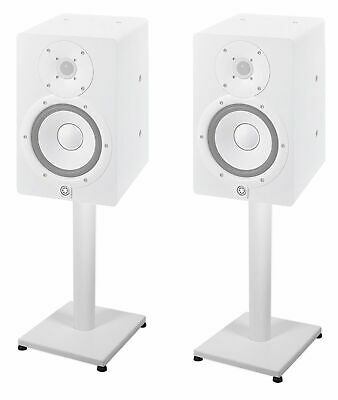 """Pair 21"""" Steel White Stands For Yamaha HS7 Studio Monitors Robust Metal Poles"""