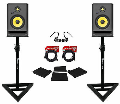 (2) KRK RP7-G4 Rokit Powered 7  Studio Monitors+Stands+Pads+Cables+Earbuds • 383.41£
