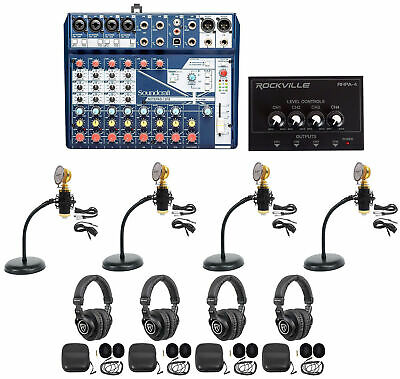 Soundcraft 4-Person Podcast Podcasting Recording Kit Mics+Headphones+Desk Stands • 348.41£