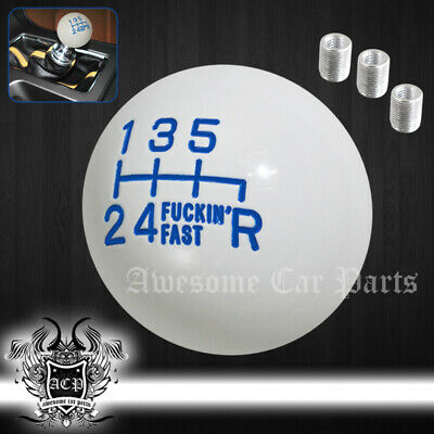 For Gmc Manual Gear Lever Round Ball Type Race Shift Knob 6Speed Set White Blue • 12.96£