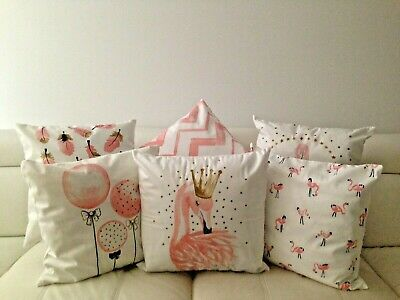 White Pink Flamingo Feather Velvet Look Soft Pillow Cushion Cover 45cm  • 45.02£
