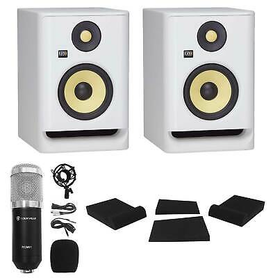 (2) KRK ROKIT RP5 G4 5  Studio Monitor DSP Speakers White Noise Edition+Mic+Pads • 263.29£