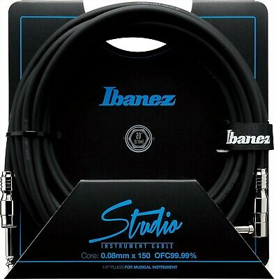 Ibanez HF20L 20 Ft Straight And Right Angle Plugs Studio Instrument Cable 20ft • 45.99£