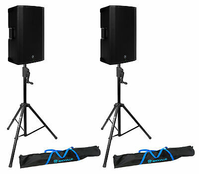 (2) Mackie Thump15BST 15  1300w Powered DJ PA Speakers+Crank-Up Stands • 808.36£