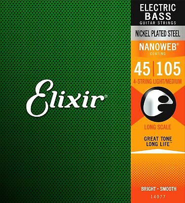 Elixir Bass Guitar Sets Ultra-Thin Nanoweb Coating Long Scale, 4 String - Med... • 66.99£