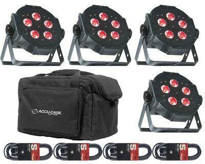 4 X ADJ Mega TriPar Profile Plus 5x4w RGB LED Par Can Package Bags & Cables • 249£