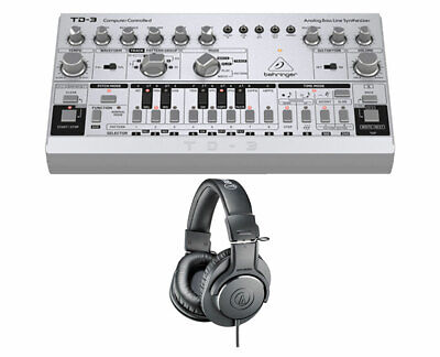 Behringer TD-3-SR Analog Bass Line Synthesizer Synth + Audio-Technica Headphones • 141.65£